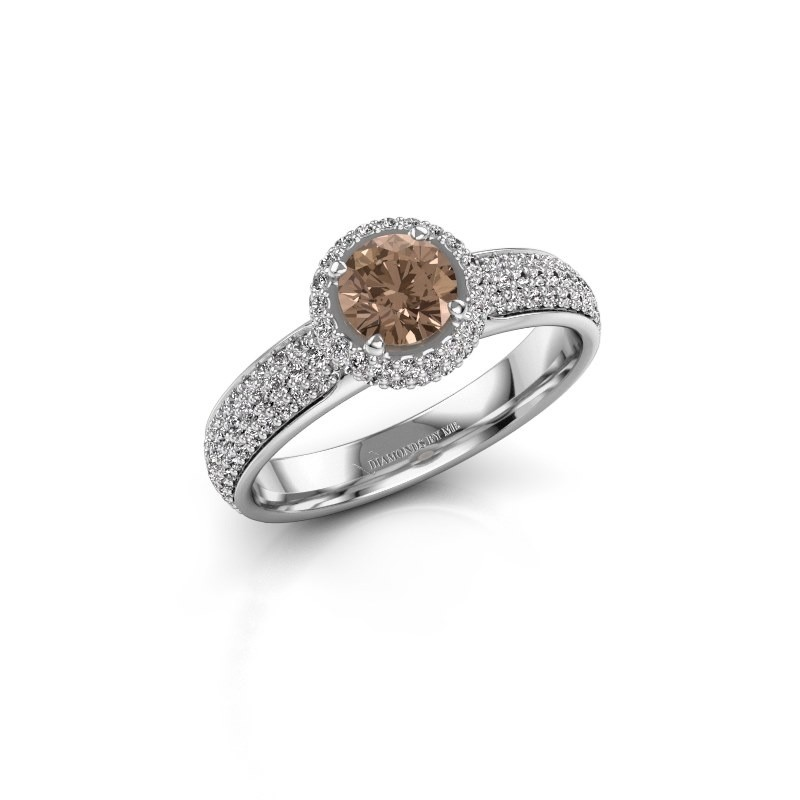 Engagement ring Mildred 925 silver brown diamond 1.311 crt