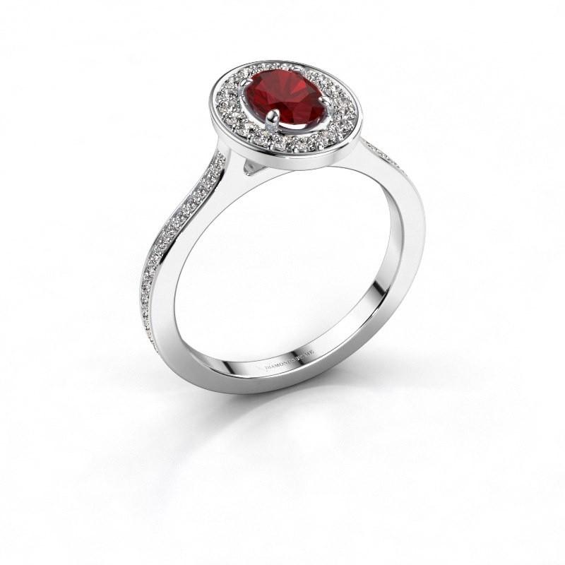 Ring Madelon 2 925 zilver robijn 7x5 mm