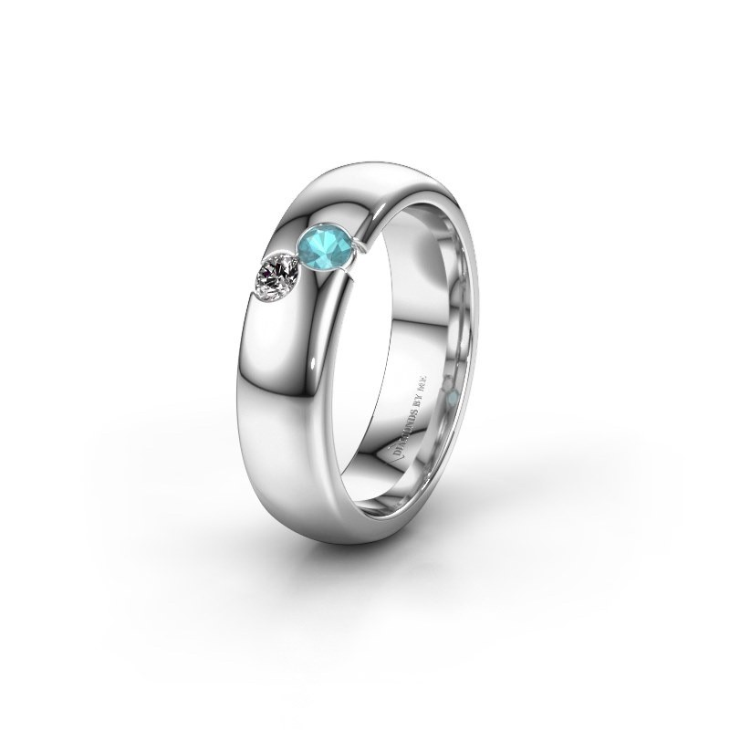 Wedding ring WH1003L26C 925 silver blue topaz ±6x2.2 mm