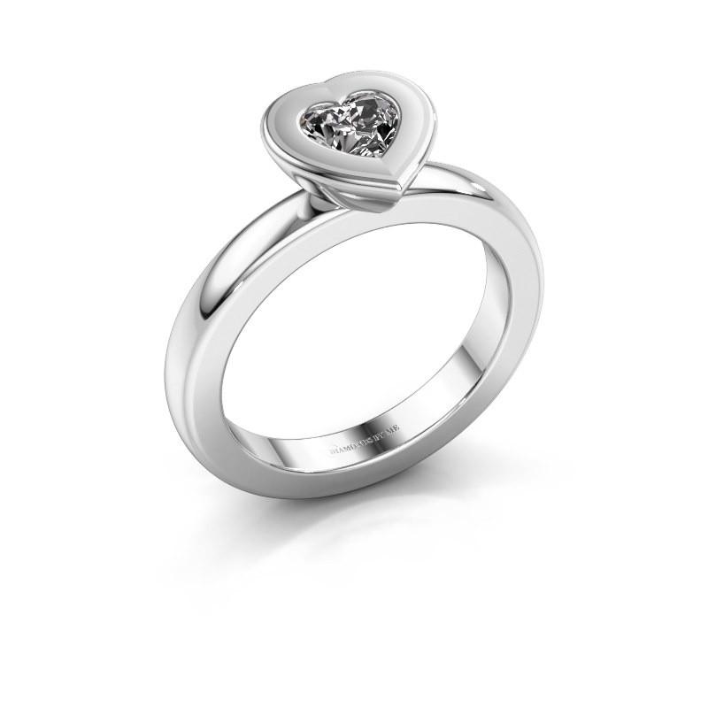 Stapelring Eloise Heart 585 witgoud zirkonia 5 mm