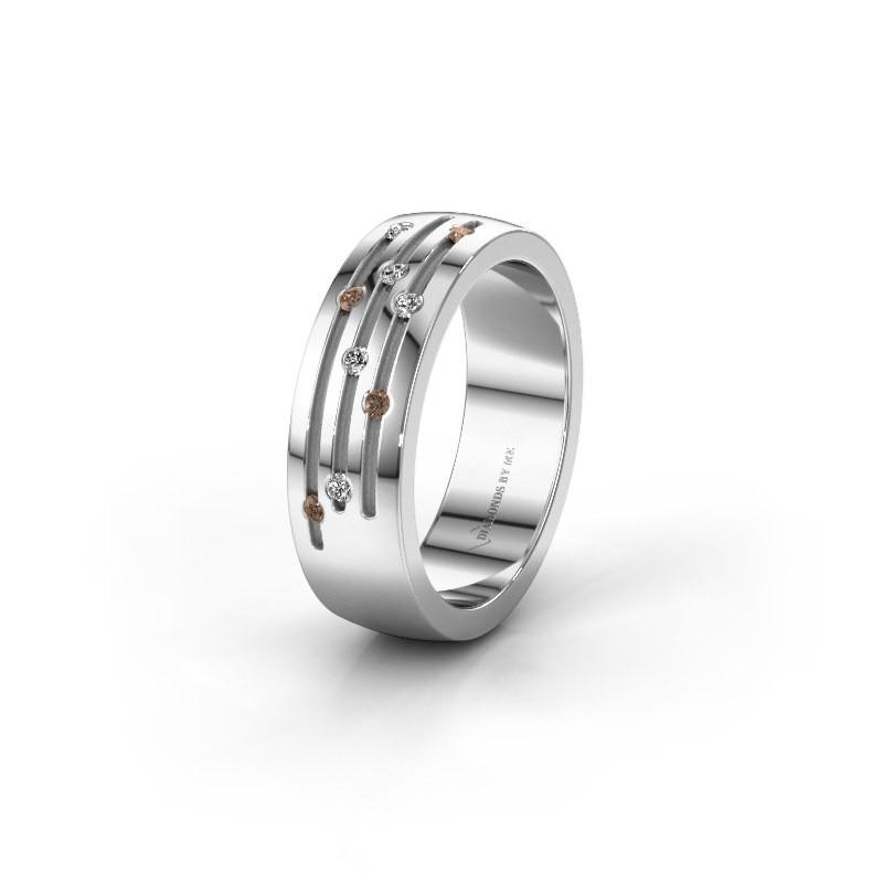 Trouwring WH0134L26B 950 platina bruine diamant ±6x2 mm