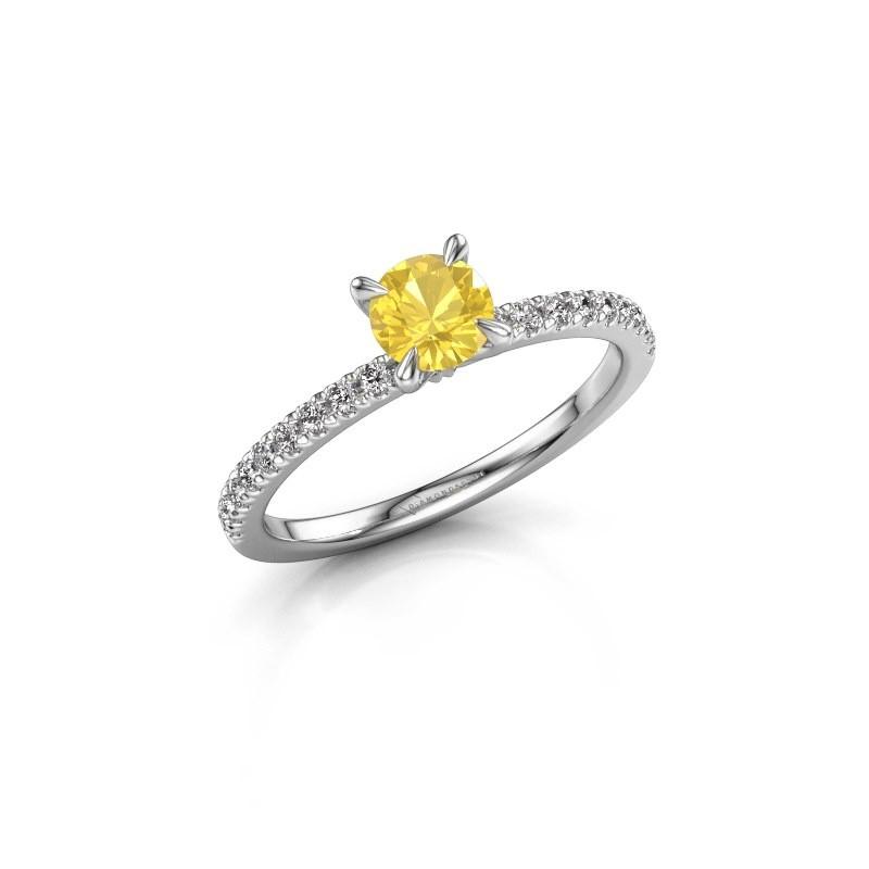 Verlovingsring Crystal rnd 2 950 platina gele saffier 5 mm