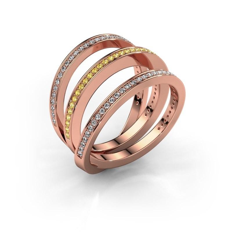 Ring Jaqueline 375 rosé goud gele saffier 1 mm