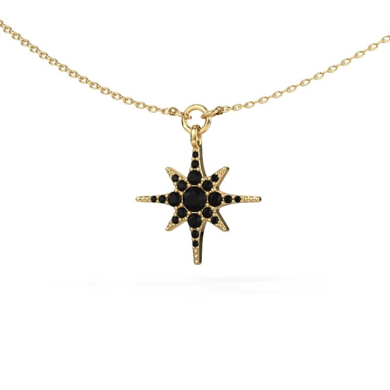 Collier Star 375 or jaune diamant noir 0.348 crt