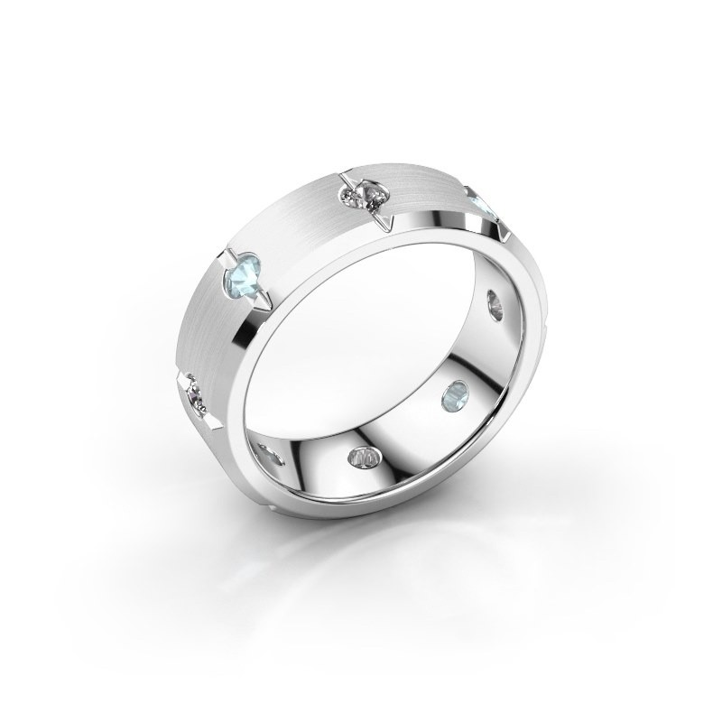 Herren ring Irwin 925 Silber Aquamarin 2.7 mm