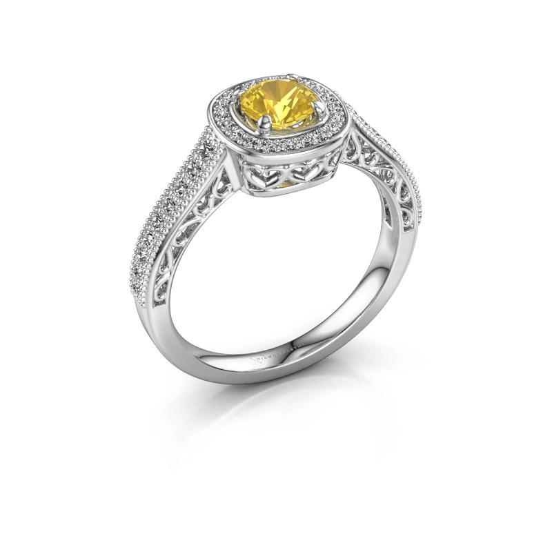 Verlovings ring Candi 585 witgoud gele saffier 5 mm