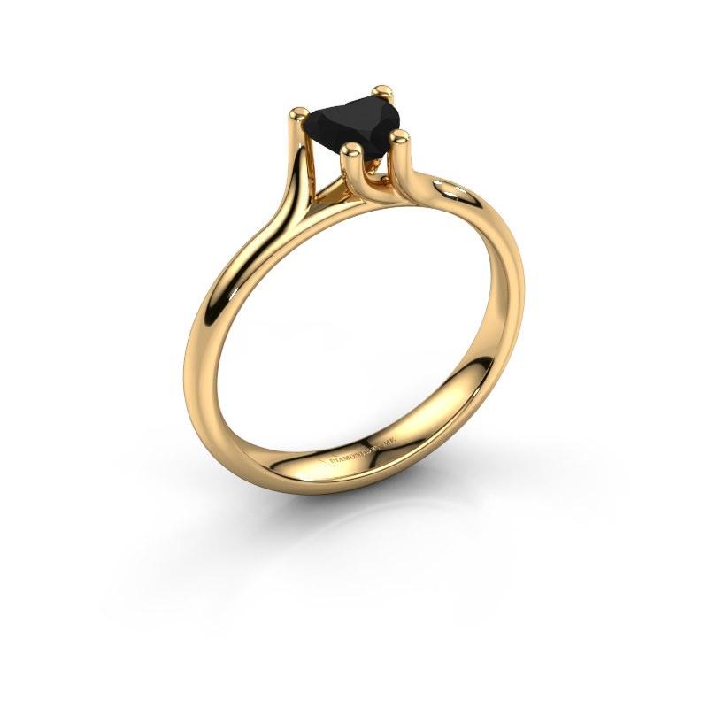 Engagement ring Dewi Heart 585 gold black diamond 0.65 crt