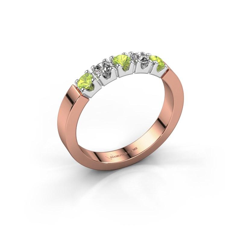 Engagement ring Dana 5 585 rose gold peridot 3 mm