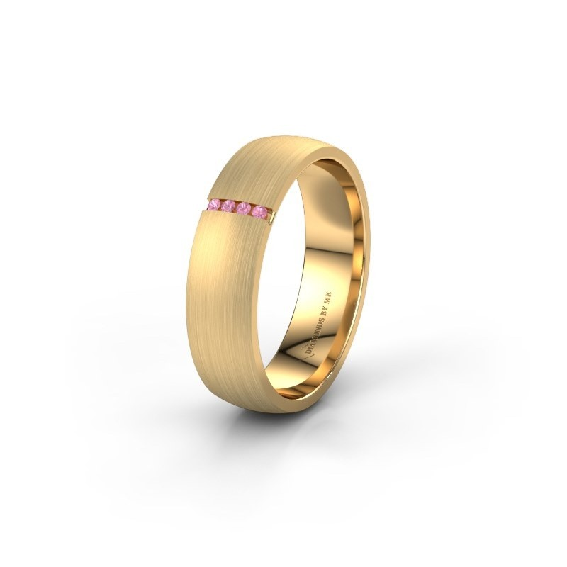 Wedding ring WH0154L25XM 375 gold pink sapphire ±5x1.4 mm
