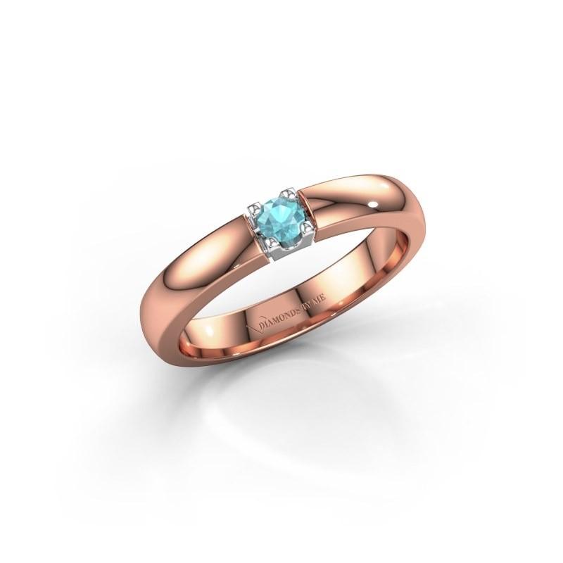 Engagement ring Rianne 1 585 rose gold blue topaz 3 mm