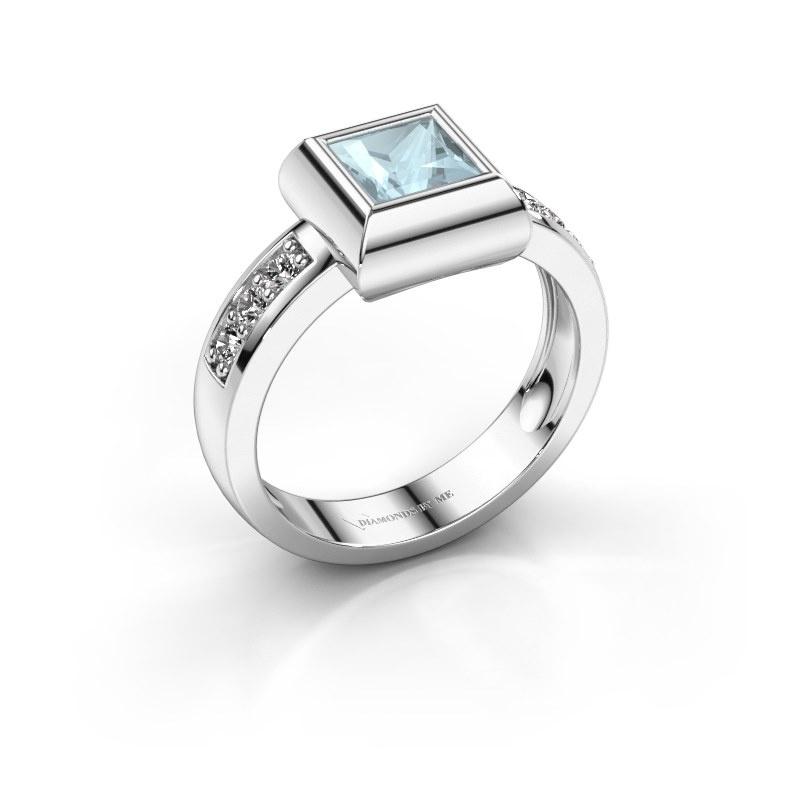 Ring Charlotte Square 585 white gold aquamarine 5 mm