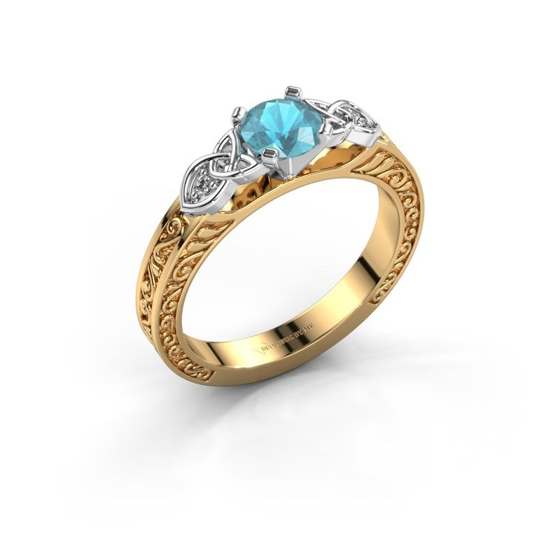 Verlovingsring Gillian 585 goud blauw topaas 5 mm