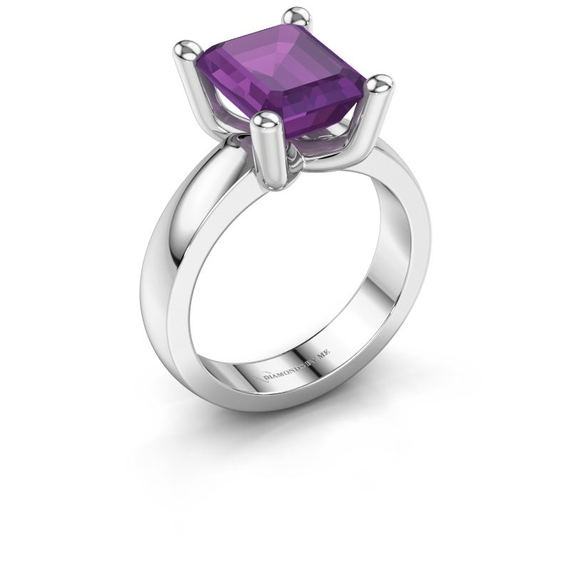 Ring Clelia EME 585 white gold amethyst 10x8 mm