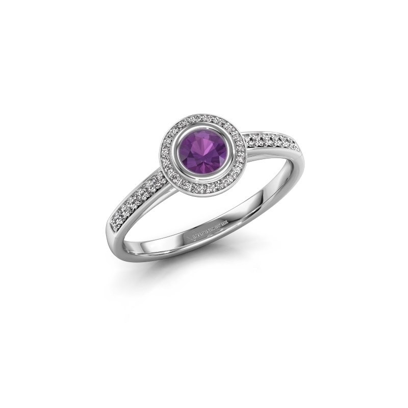 Engagement ring Noud 2 RND 950 platinum amethyst 4 mm