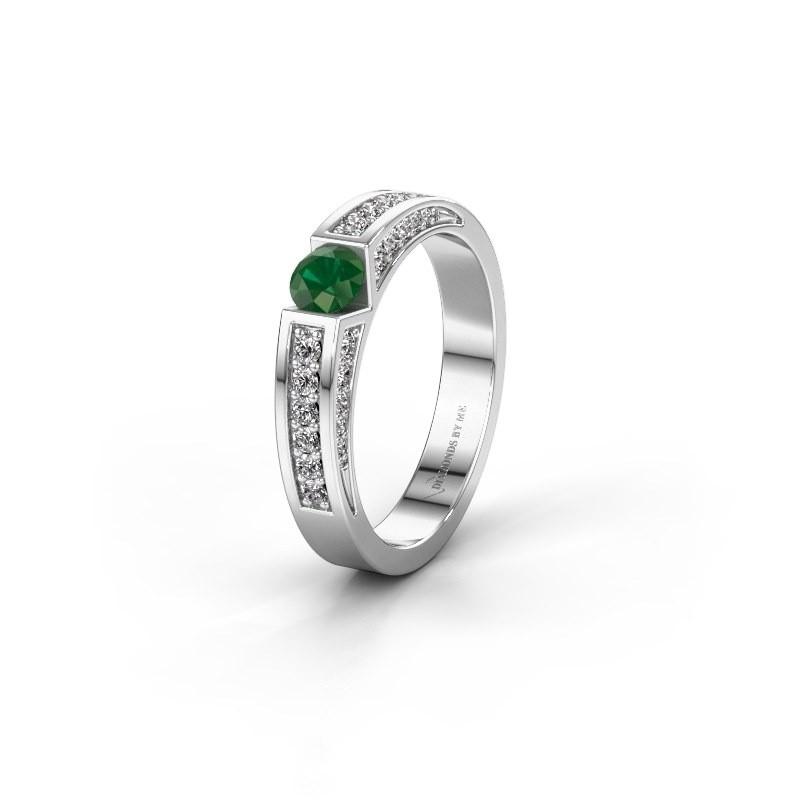 Trouwring WH2098L 925 zilver smaragd ±4x3 mm