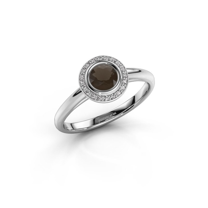Promise ring Noud 1 RND 585 white gold smokey quartz 4.7 mm