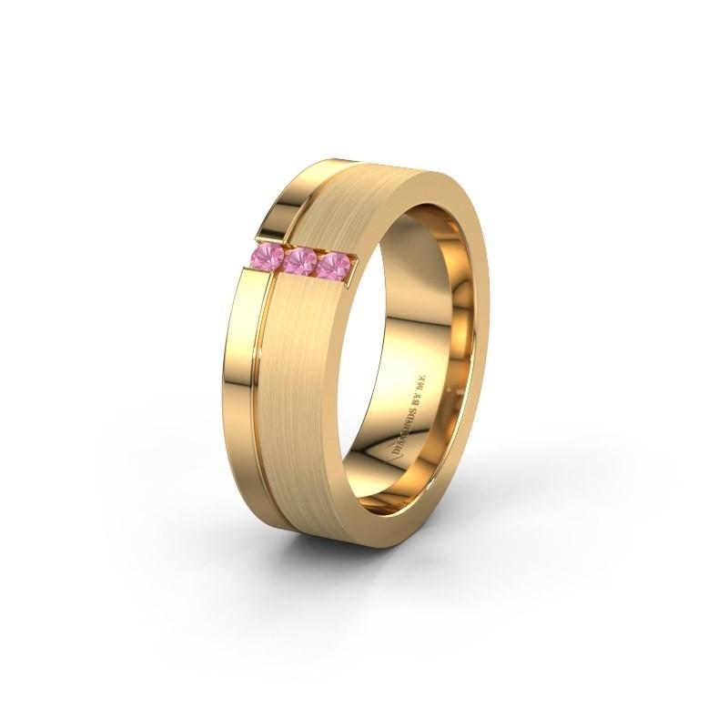 Trouwring WH0327L16B 585 goud roze saffier ±6x2 mm