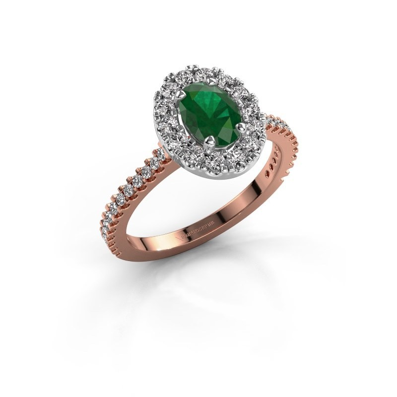 Verlobungsring Jorinda 2 585 Roségold Smaragd 7x5 mm