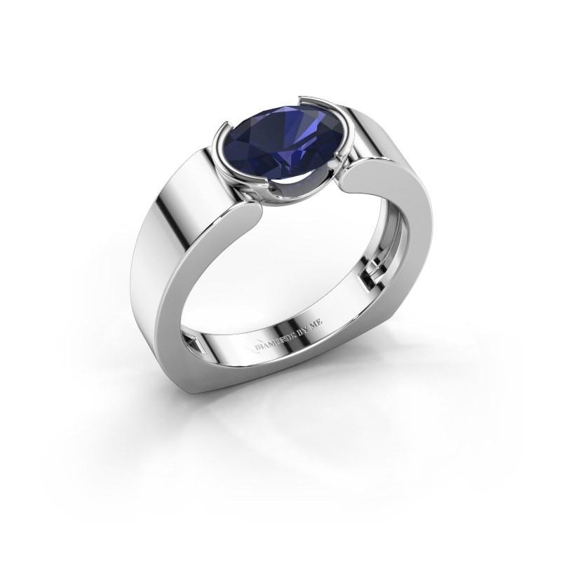 Ring Tonya 925 zilver saffier 8x6 mm