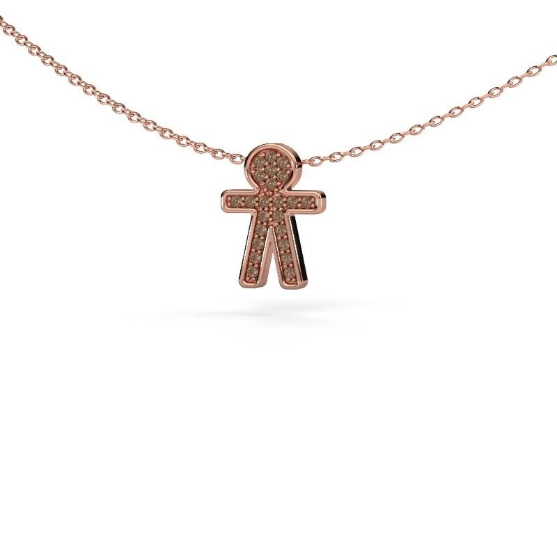 Hanger Boy 375 rosé goud bruine diamant 0.115 crt