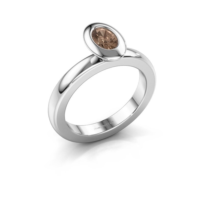 Stacking ring Trudy Oval 925 silver brown diamond 0.50 crt