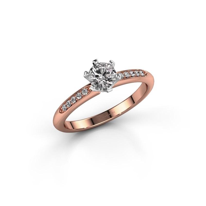 Bague de fiançailles Tiffy 2 585 or rose diamant 0.40 crt