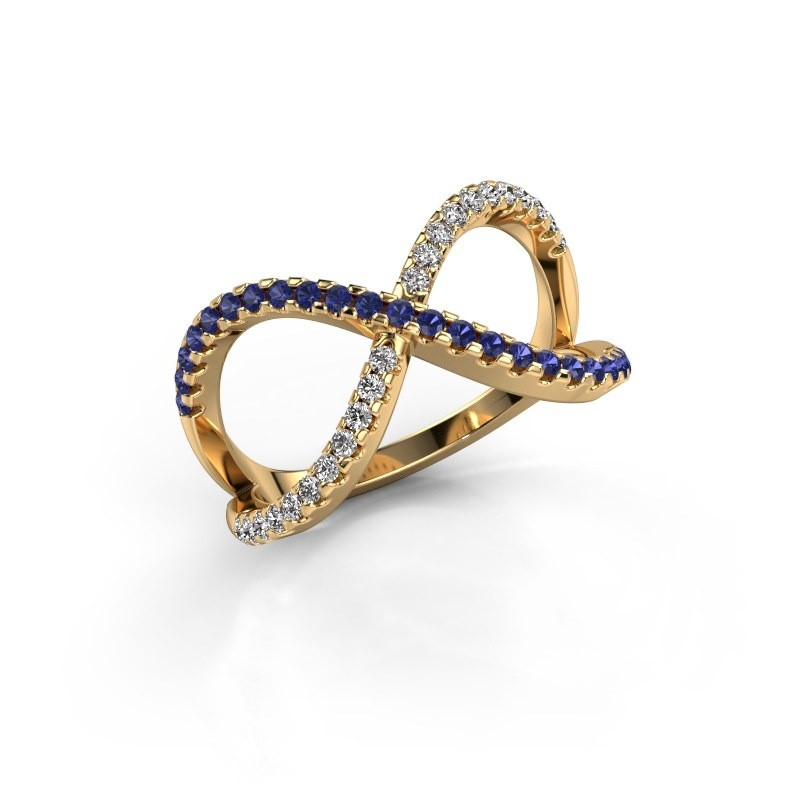 Ring Alycia 2 375 gold sapphire 1.3 mm