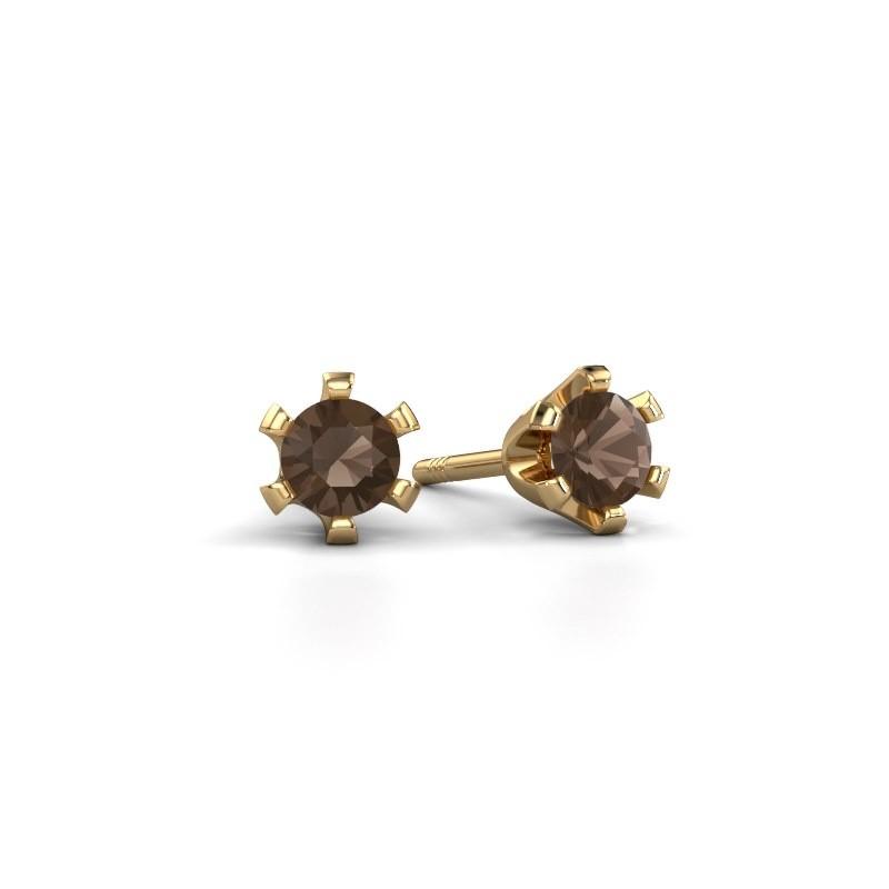 Stud earrings Shana 375 gold smokey quartz 4 mm