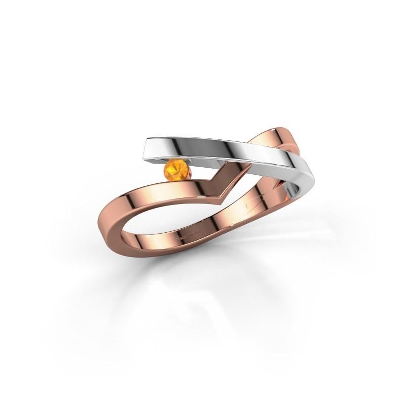 Ring Pamella 585 rosé goud citrien 2.2 mm