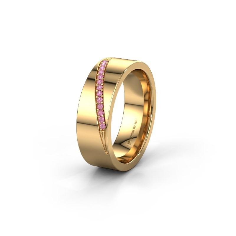 Trouwring WH2146L17A 585 goud roze saffier ±7x1.7 mm