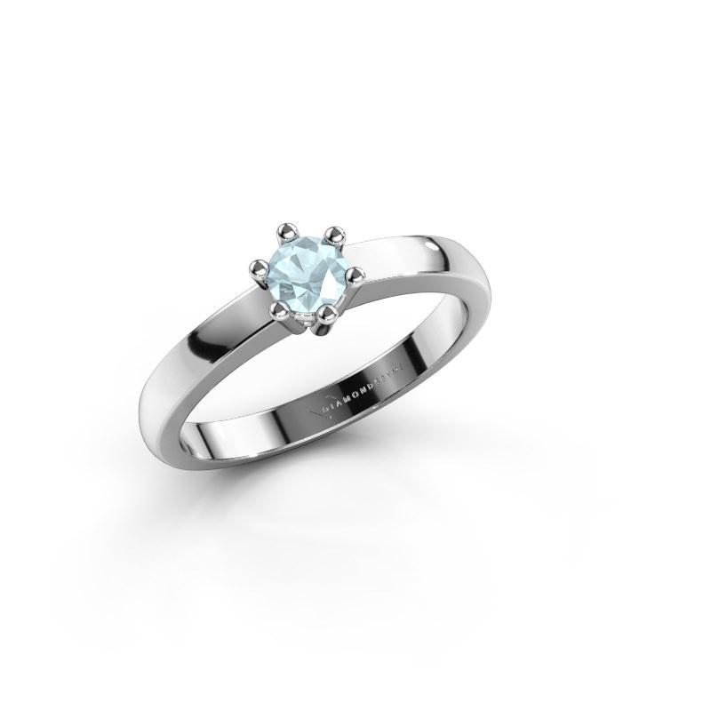 Engagement ring Luna 1 585 white gold aquamarine 3.7 mm