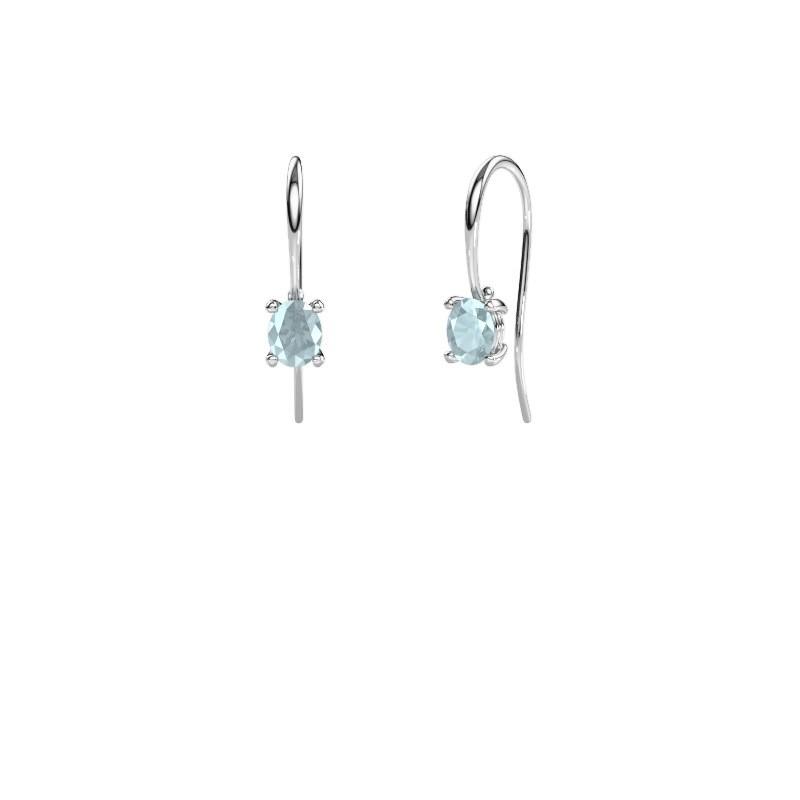 Drop earrings Cleo 950 platinum aquamarine 6x4 mm