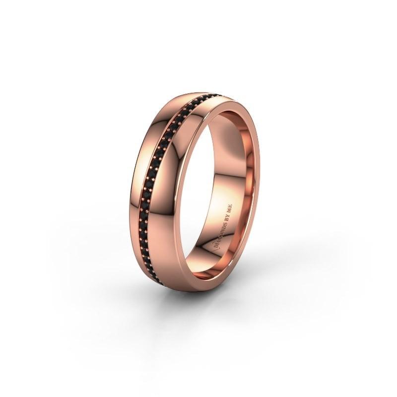Trouwring WH0109L25A 375 rosé goud zwarte diamant ±5x1.7 mm
