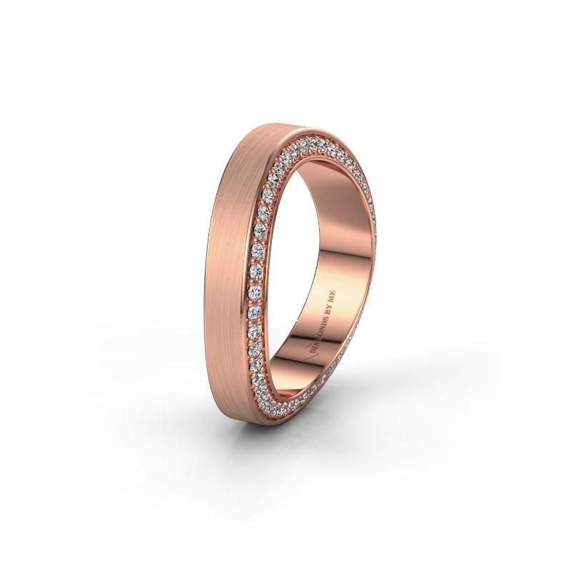 Trouwring WH2029AM 375 rosé goud diamant ±5x2.2 mm