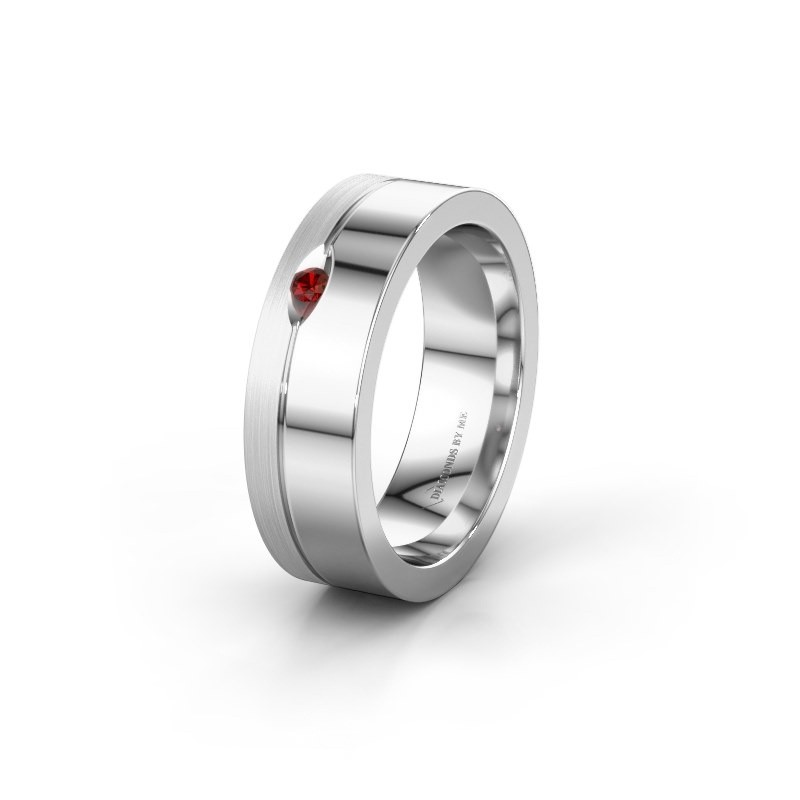 Wedding ring WH0329L16B 950 platinum garnet ±0.24x0.08 in