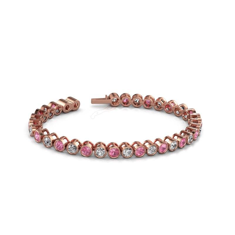 Tennisarmband Allegra 4 mm 375 rosé goud roze saffier 4 mm