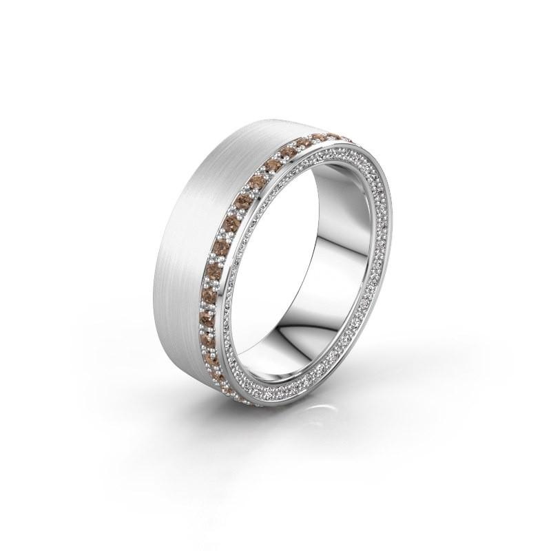 Trouwring WH2224L26C8 585 witgoud bruine diamant 0.54 crt ±6,5x2.2 mm