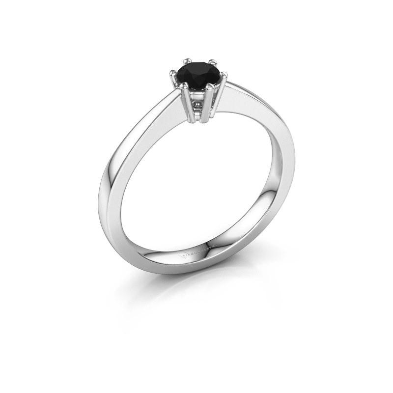 Bague de fiançailles Noortje 950 platine diamant noir 0.30 crt