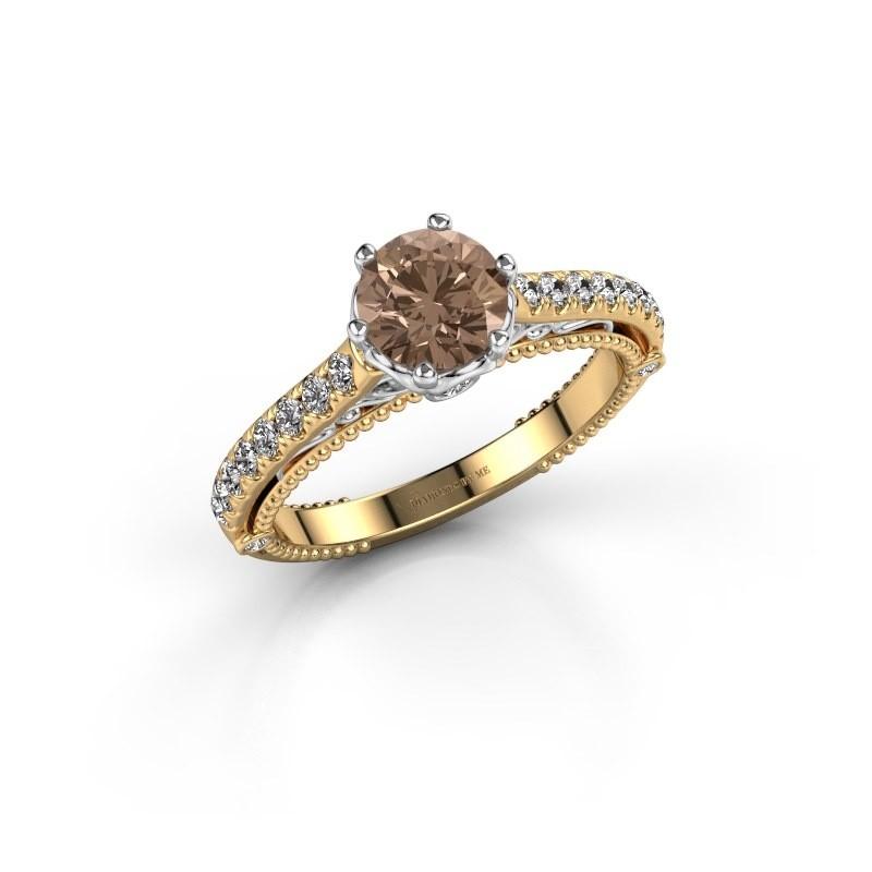 Engagement ring Venita 585 gold brown diamond 1.345 crt