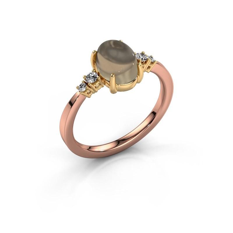 Ring Jelke 585 rosé goud rookkwarts 8x6 mm