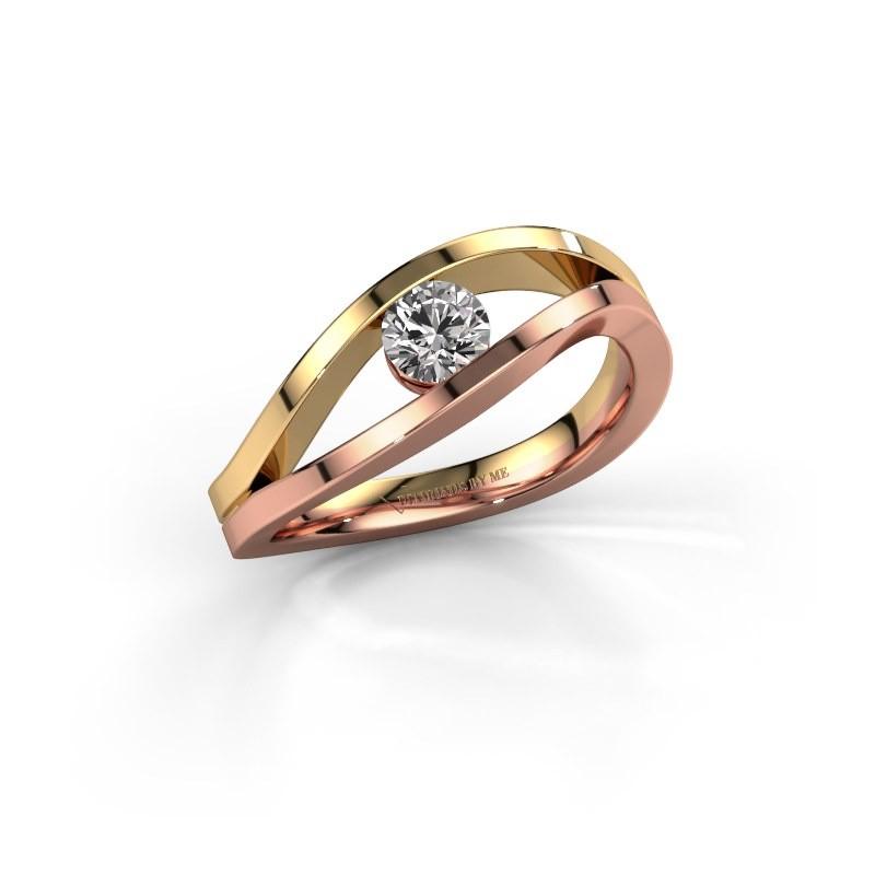 Aanzoeksring Sigrid 1 585 rosé goud diamant 0.30 crt