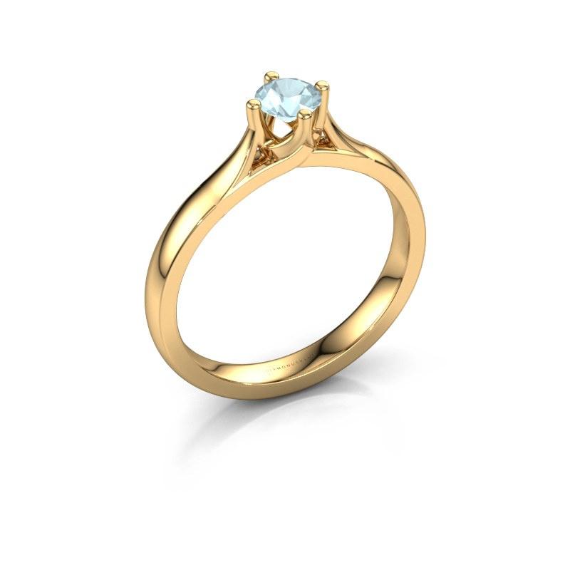 Verlovingsring Eva 585 goud aquamarijn 4.2 mm