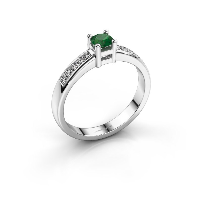 Engagement ring Eline 2 925 silver emerald 3.7 mm