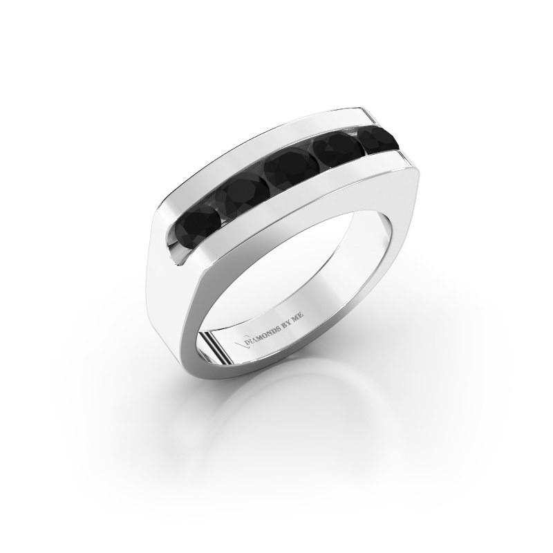 Men's ring Richard 375 white gold black diamond 1.332 crt