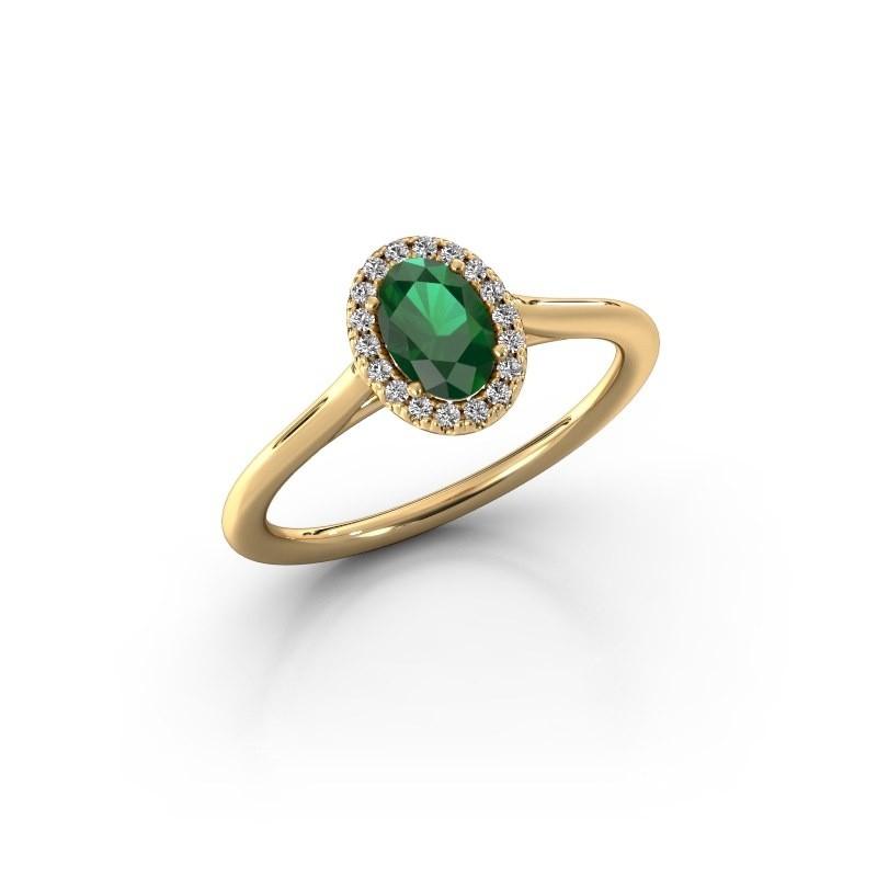 Verlobungsring Seline 1 375 Gold Smaragd 6x4 mm