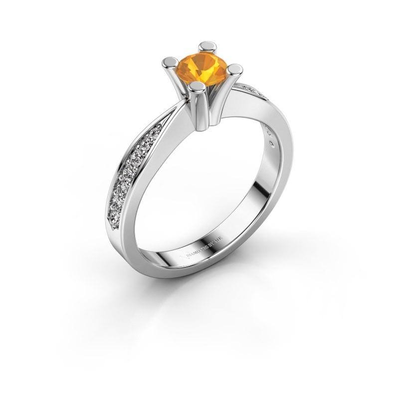 Promise ring Ichelle 2 585 witgoud citrien 4.7 mm