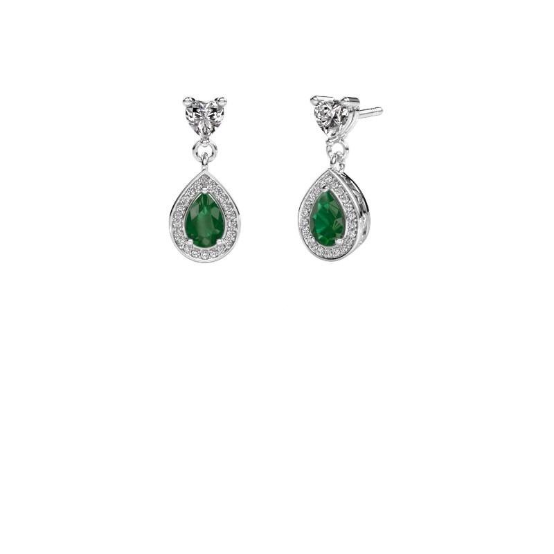 Drop earrings Susannah 950 platinum emerald 6x4 mm