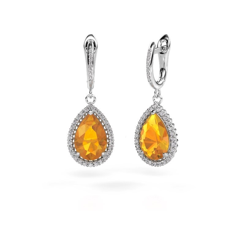 Drop earrings Tilly per 4 950 platinum citrin 12x8 mm