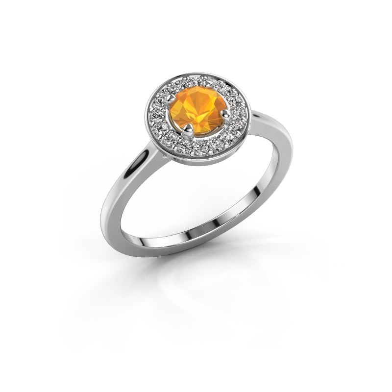Ring Agaat 1 585 white gold citrin 5 mm