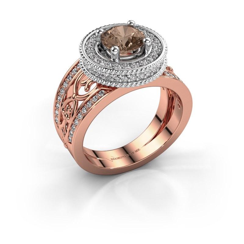Ring Joy 585 rose gold brown diamond 1.596 crt